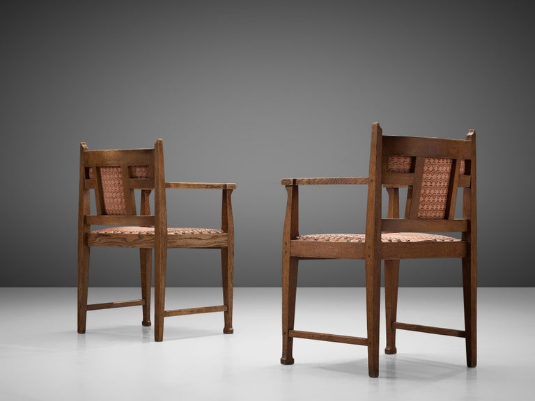 Early 20th Century Pair of Dutch Art Deco Armchairs in Oak Fabric Upholstery For Sale