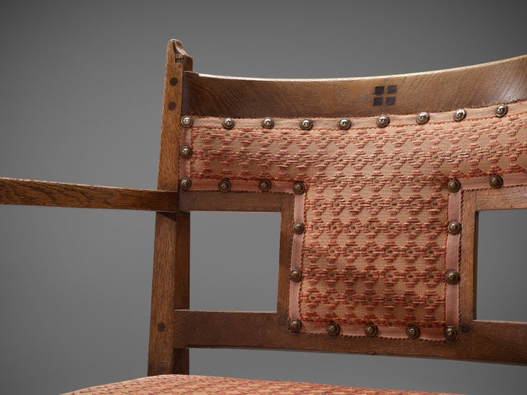 Pair of Dutch Art Deco Armchairs in Oak Fabric Upholstery For Sale 1