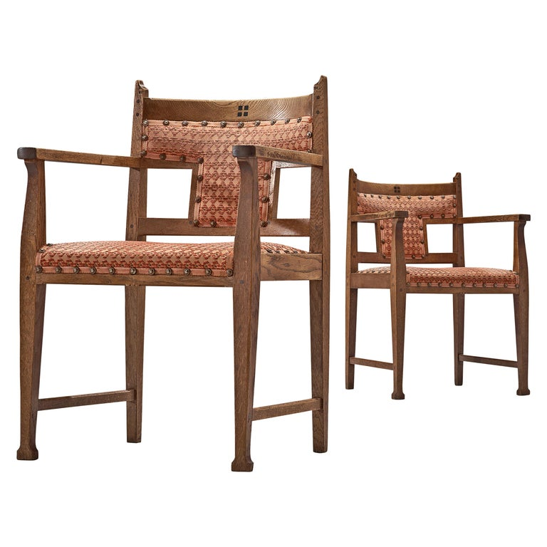 Pair of Dutch Art Deco Armchairs in Oak Fabric Upholstery For Sale