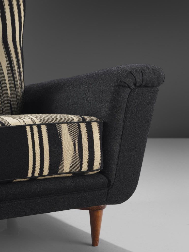 Fabric Pair of Dutch Black and White Armchairs, circa 1950 For Sale