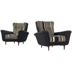 Pair of Dutch Black and White Armchairs, circa 1950