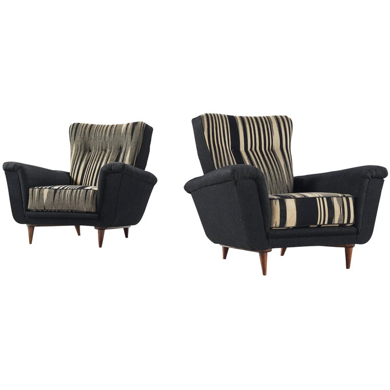 Pair of Dutch Black and White Armchairs, circa 1950 For Sale