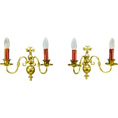 Pair of Dutch Two-Light Brass Sconces