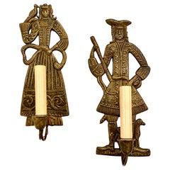 Pair of Dutch Bronze Figural Sconces