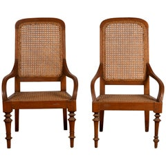 Pair of Dutch Colonial Javanese Armchairs with Woven Rattan Seats and Backs