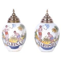 Pair of Dutch Colonial Porcelain Tobacco Jars, Titled Varinas and Martiniek
