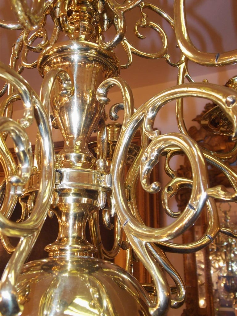 Pair of Dutch Colonial Two-Tiered Bulbous and Scrolled Chandeliers, Circa 1750 For Sale 4