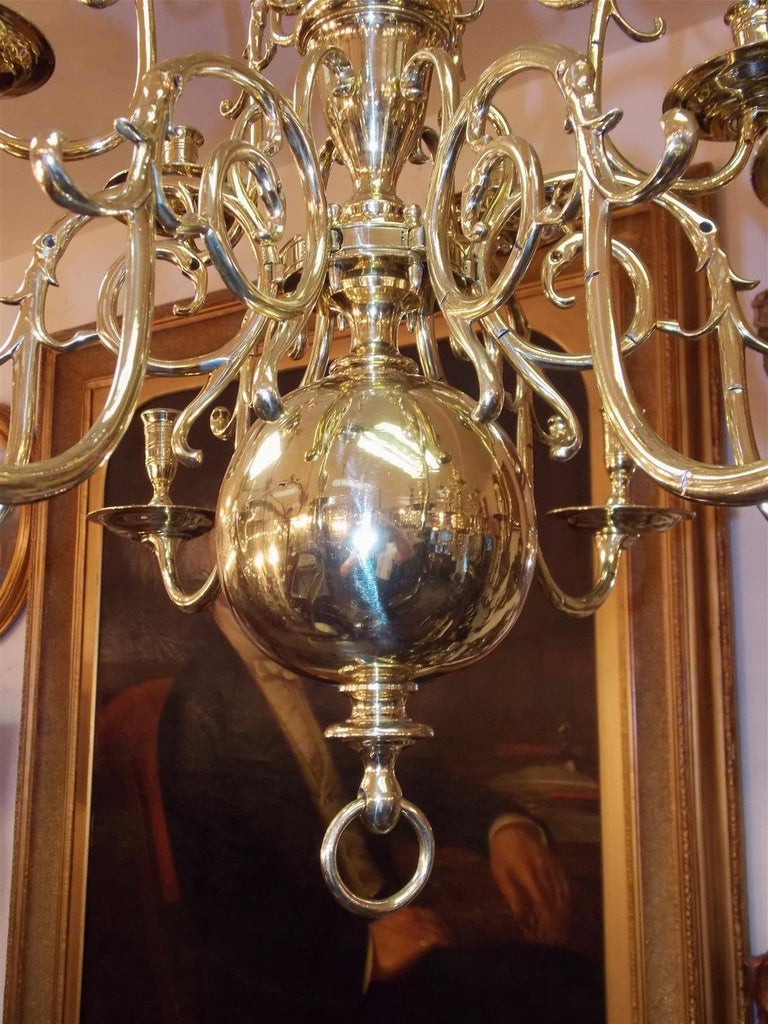 Pair of Dutch Colonial Two-Tiered Bulbous and Scrolled Chandeliers, Circa 1750 For Sale 5
