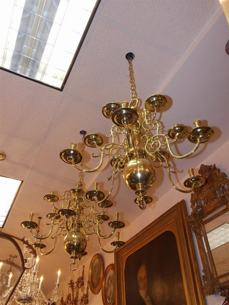 Cast Pair of Dutch Colonial Two-Tiered Bulbous and Scrolled Chandeliers, Circa 1750 For Sale