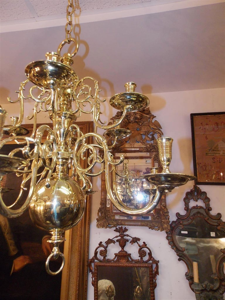 Pair of Dutch Colonial Two-Tiered Bulbous and Scrolled Chandeliers, Circa 1750 In Excellent Condition For Sale In Charleston, SC