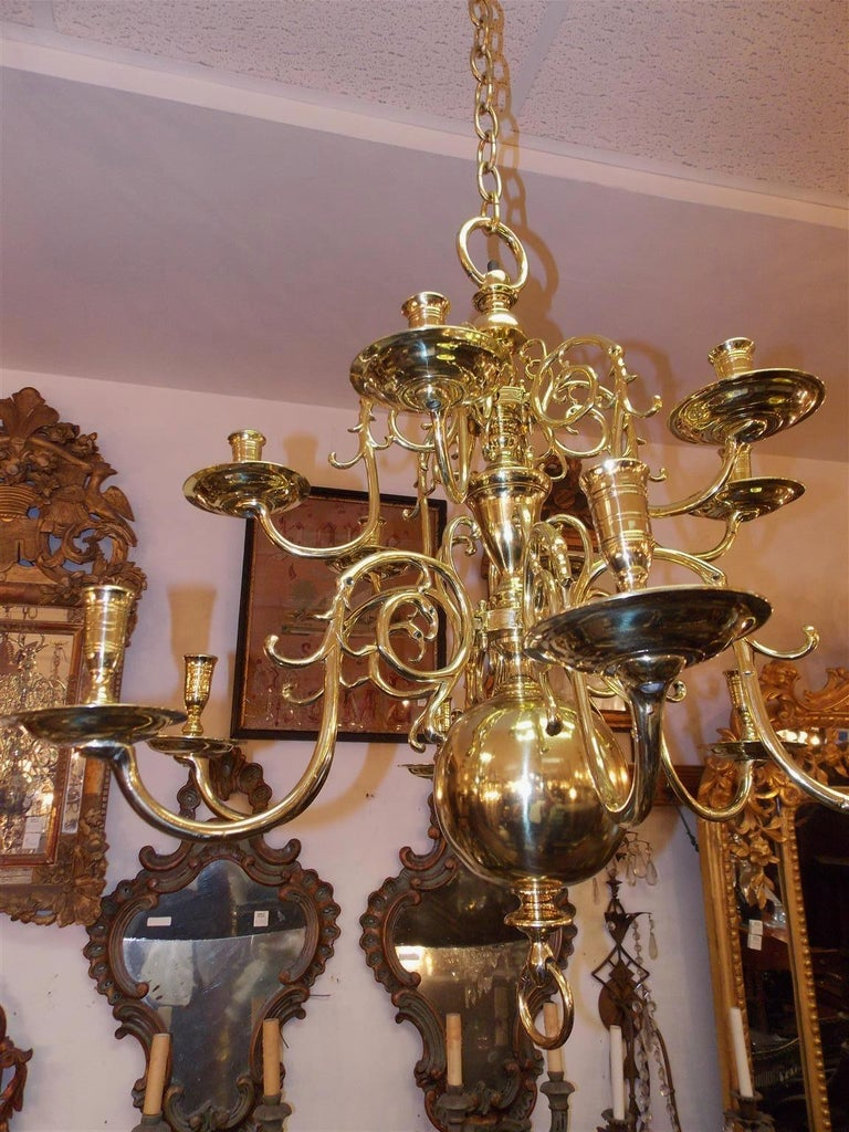 Mid-18th Century Pair of Dutch Colonial Two-Tiered Bulbous and Scrolled Chandeliers, Circa 1750 For Sale