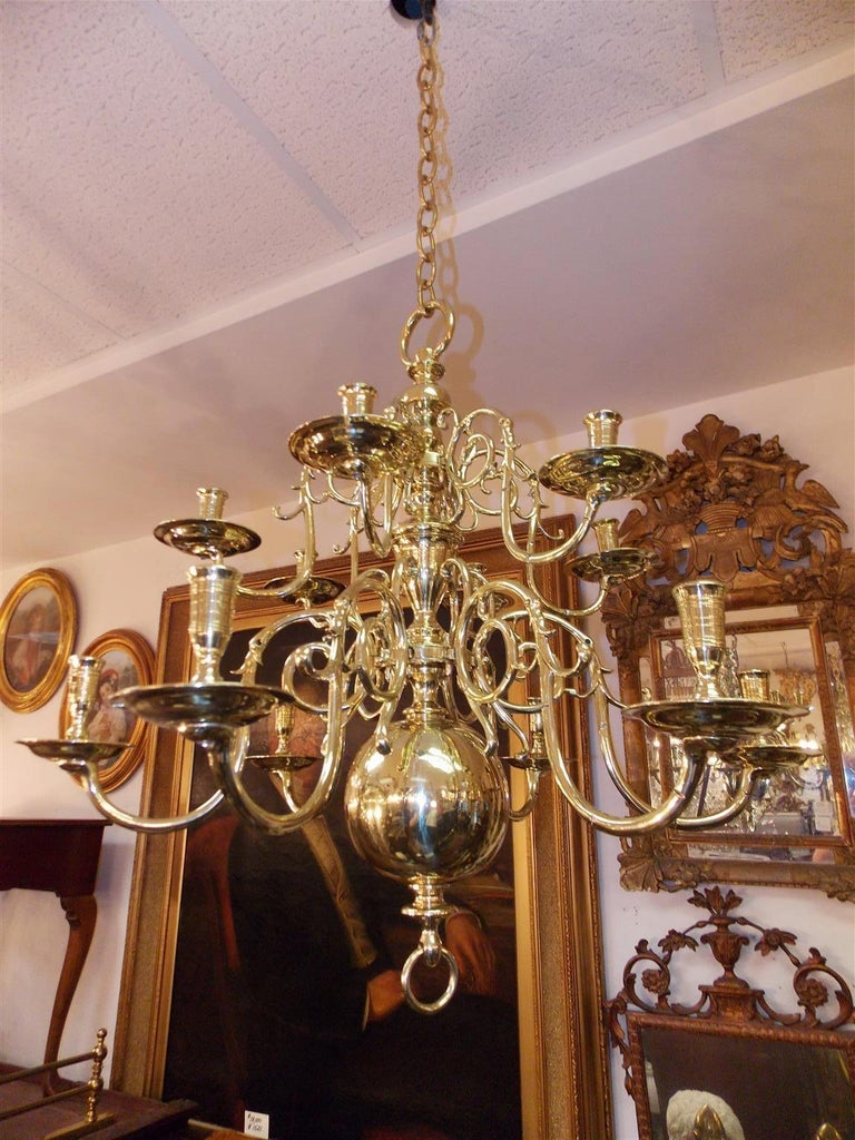 Brass Pair of Dutch Colonial Two-Tiered Bulbous and Scrolled Chandeliers, Circa 1750 For Sale