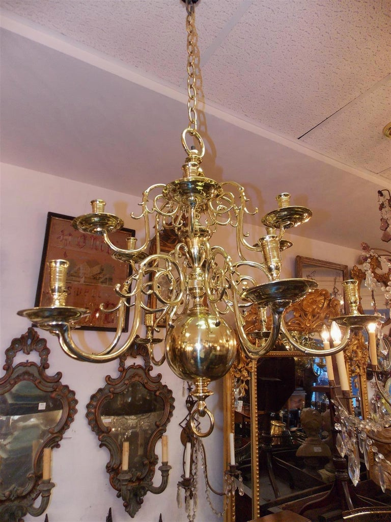 Pair of Dutch Colonial Two-Tiered Bulbous and Scrolled Chandeliers, Circa 1750 For Sale 1