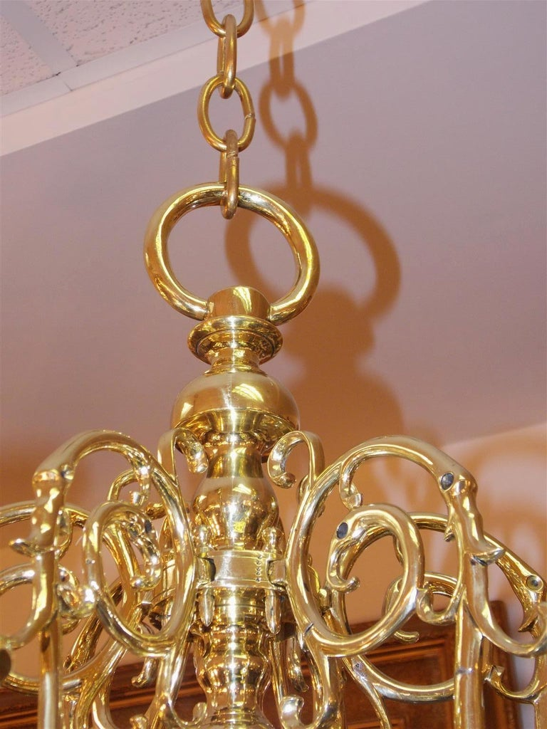 Pair of Dutch Colonial Two-Tiered Bulbous and Scrolled Chandeliers, Circa 1750 For Sale 2