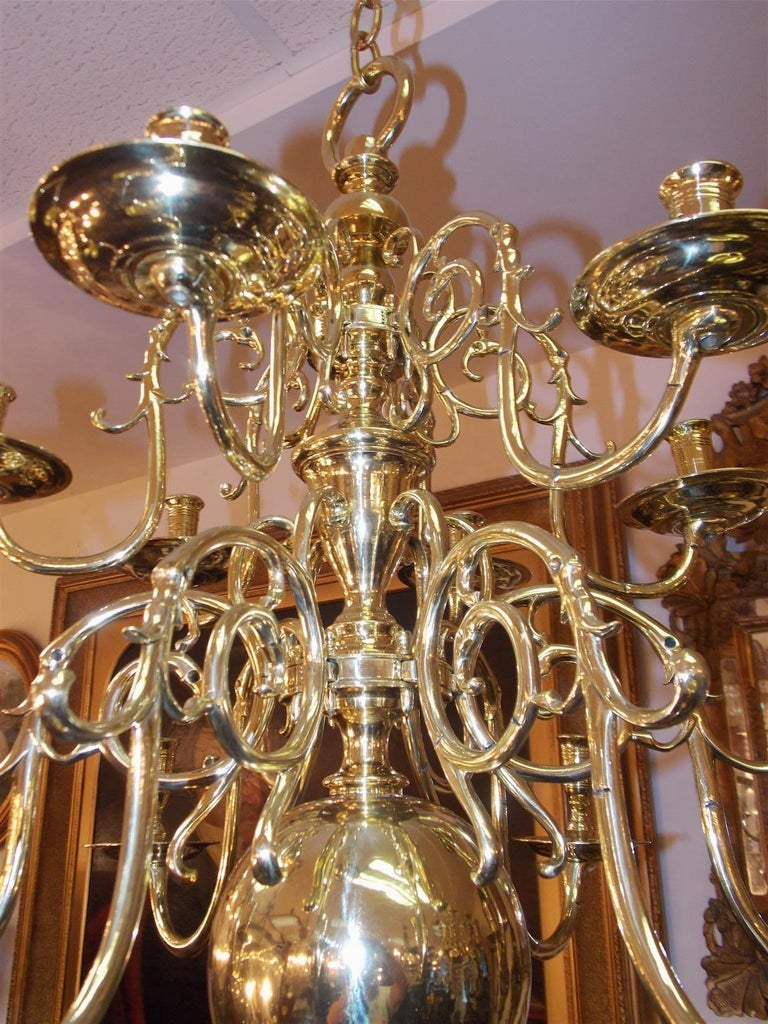 Pair of Dutch Colonial Two-Tiered Bulbous and Scrolled Chandeliers, Circa 1750 For Sale 3