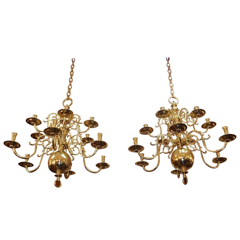 Pair of Dutch Colonial Two-Tiered Bulbous and Scrolled Chandeliers, Circa 1750 For Sale