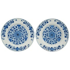 Pair of Dutch Delft Blue and White Delft Chargers Made circa 1770