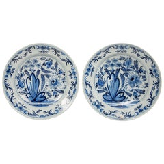 Pair of Dutch Delft Blue and White Chargers Made circa 1800