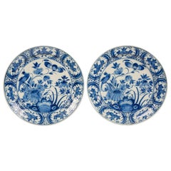 Pair of Dutch Delft Blue and White Chargers with Songbirds Made circa 1770