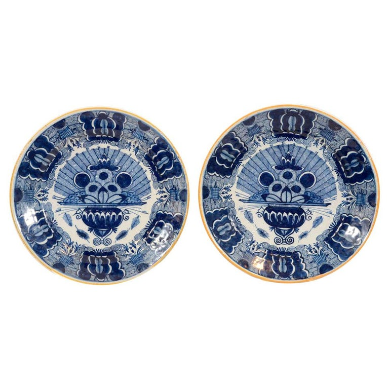 Pair of Dutch Delft Blue and White Peacock Chargers Made 18th Century circa 1780 For Sale