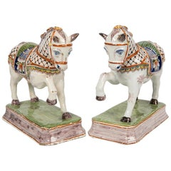 Pair of Dutch Delft Horses Painted in Polychrome Colors Made, Mid-19th Century