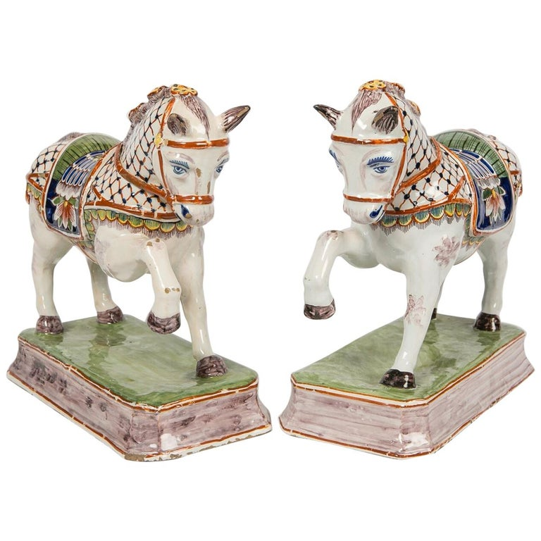 Pair of Dutch Delft Horses Painted in Polychrome Colors Made, Mid-19th Century For Sale