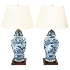 Pair of Dutch Delft Painted Lamps