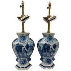 Pair of Dutch Delft Style Blue and White Vase Table Lamps