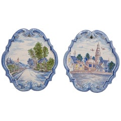 Pair of Dutch Delft Wall Plaques