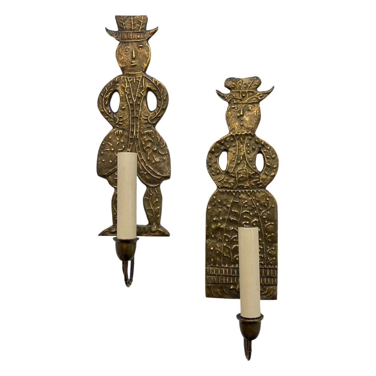 Pair of Dutch Figurative Sconces