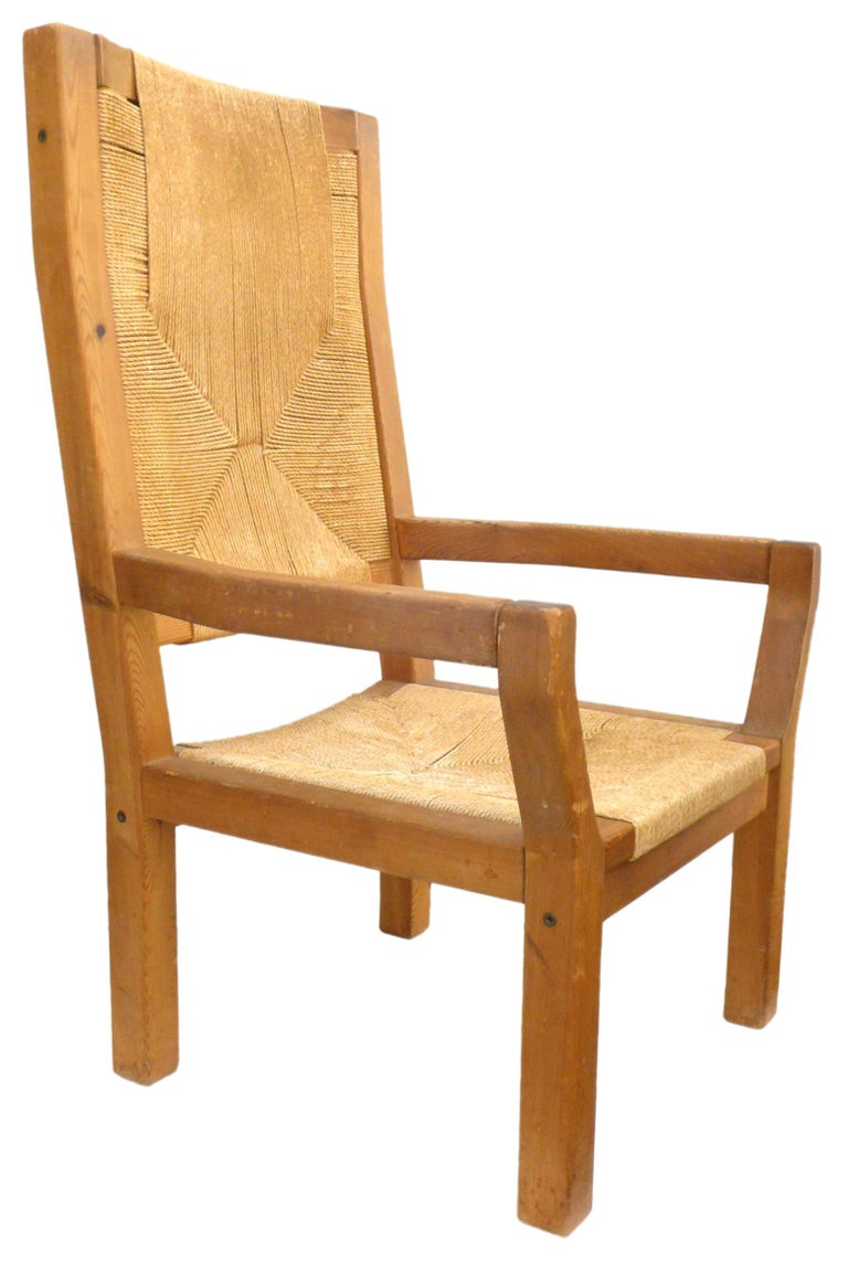 Pair of Dutch Hardwood & Woven Twine Highback Armchairs In Good Condition For Sale In Los Angeles, CA