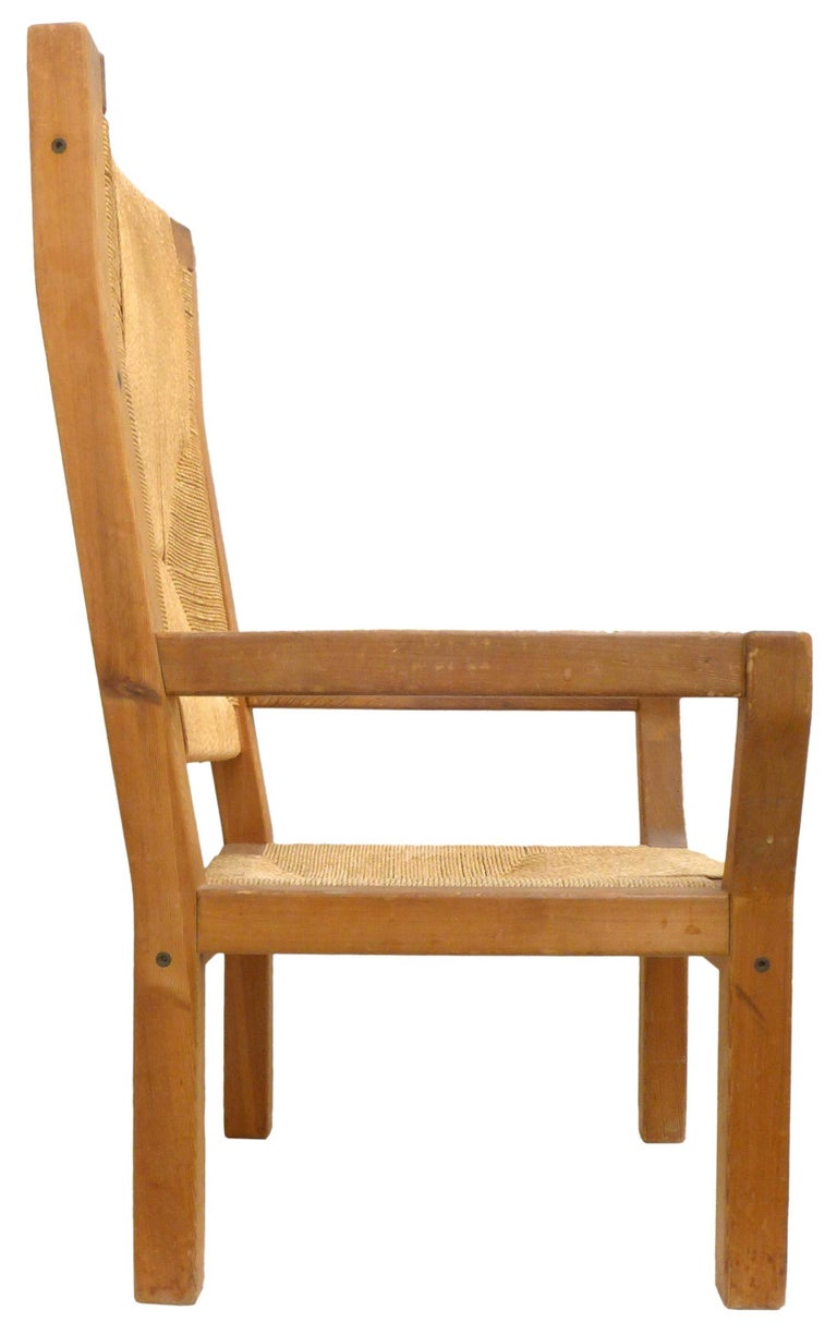 Mid-20th Century Pair of Dutch Hardwood & Woven Twine Highback Armchairs For Sale