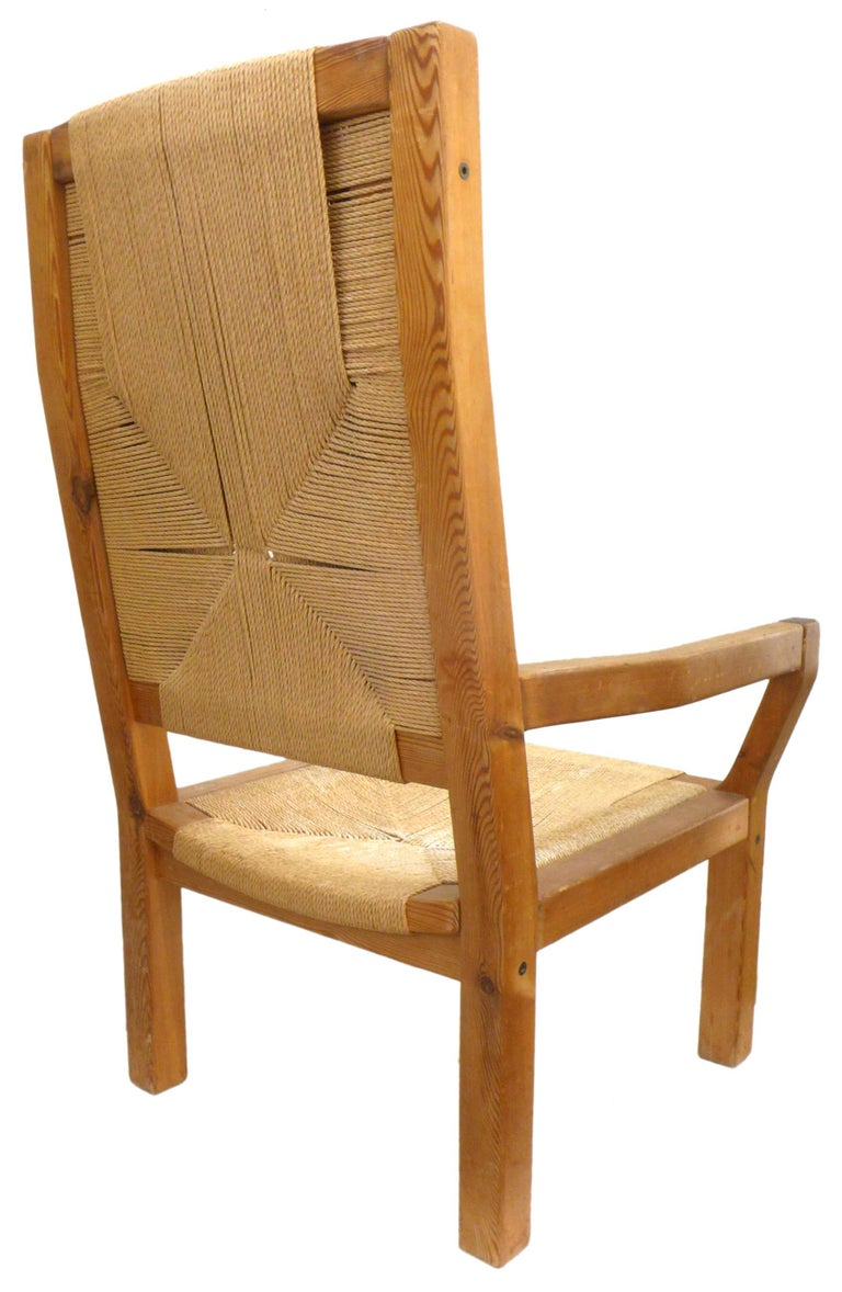 Pair of Dutch Hardwood & Woven Twine Highback Armchairs For Sale 1