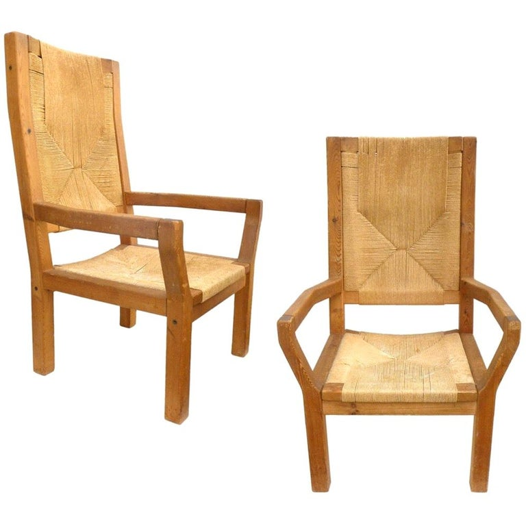 Pair of Dutch Hardwood & Woven Twine Highback Armchairs For Sale