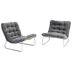 Pair of Dutch Mid-Century Modern Tubular Steel Lounge Chairs, 1970s