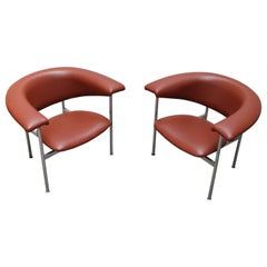 Pair of Dutch Modernist Design Lounge Chairs in Chrome by Rudolf Wolf, 1960s