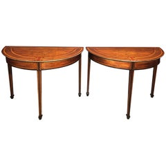 Pair of Dutch Neoclassic Inlaid Demilune Console Tables