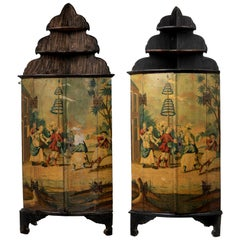 Pair of Dutch Polychrome Painted Corner Cupboards, 19th Century