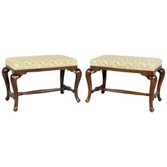 Pair of Dutch Rococo Walnut Benches