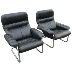 Pair of Sam Larsson DUX Lounge Cantilever Leather Chairs from 1972