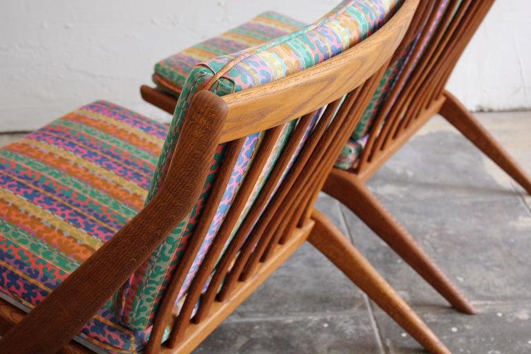 Pair of DUX Scissor Chairs by Folke Ohlsson Missoni or Jack Lenor Larsen Fabric For Sale 4