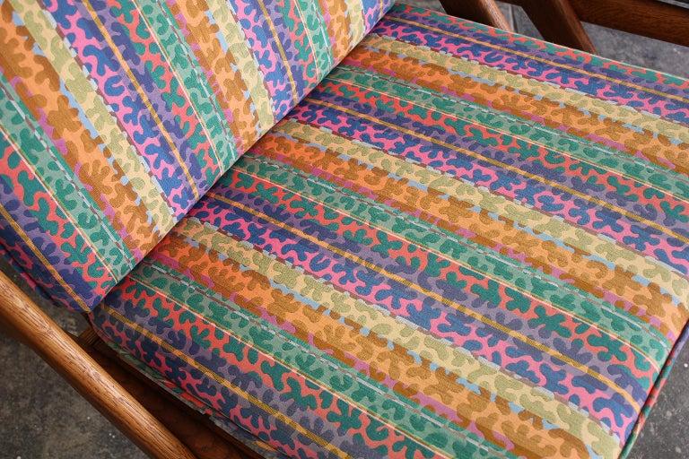 Pair of DUX Scissor Chairs by Folke Ohlsson Missoni or Jack Lenor Larsen Fabric For Sale 5