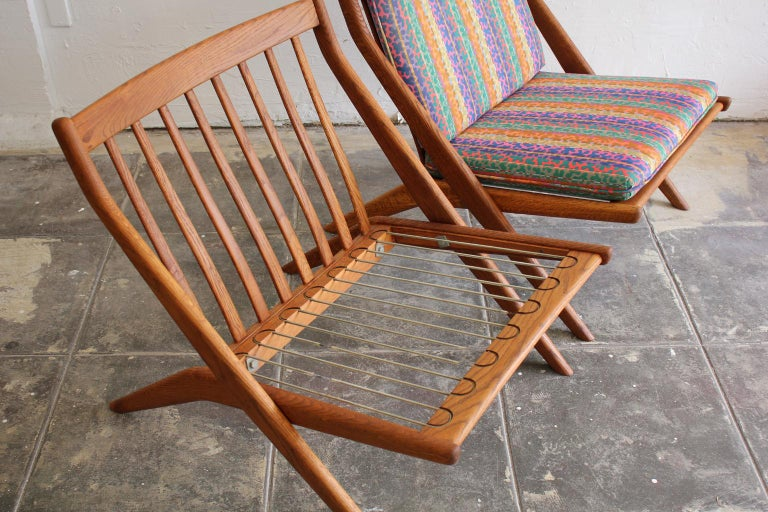 Pair of DUX Scissor Chairs by Folke Ohlsson Missoni or Jack Lenor Larsen Fabric For Sale 6