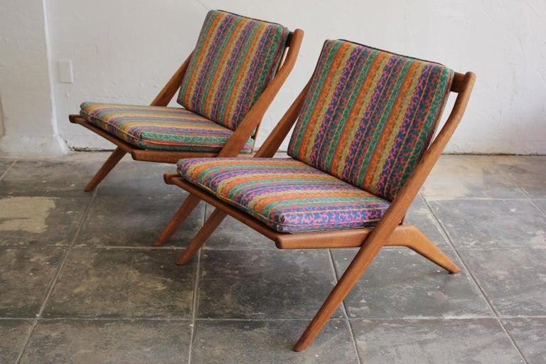 Swedish Pair of DUX Scissor Chairs by Folke Ohlsson Missoni or Jack Lenor Larsen Fabric For Sale
