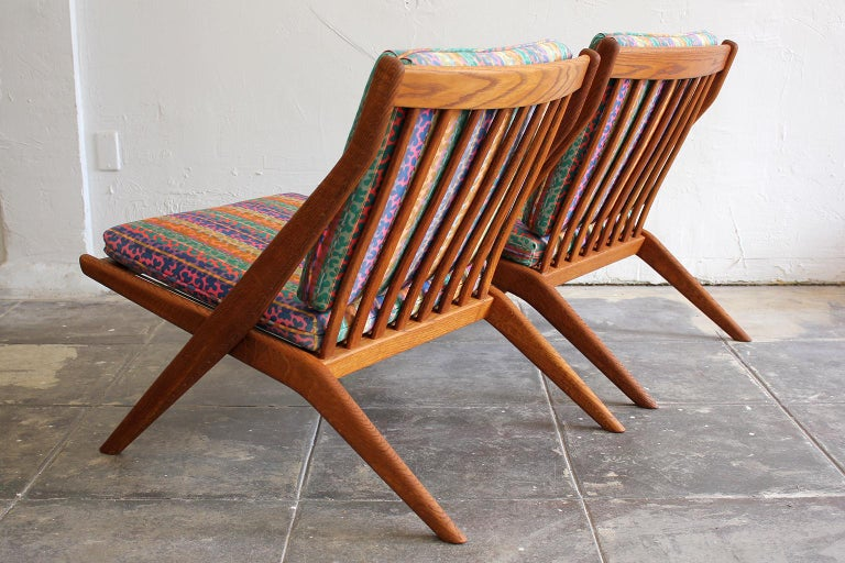 Pair of DUX Scissor Chairs by Folke Ohlsson Missoni or Jack Lenor Larsen Fabric In Good Condition For Sale In San Diego, CA
