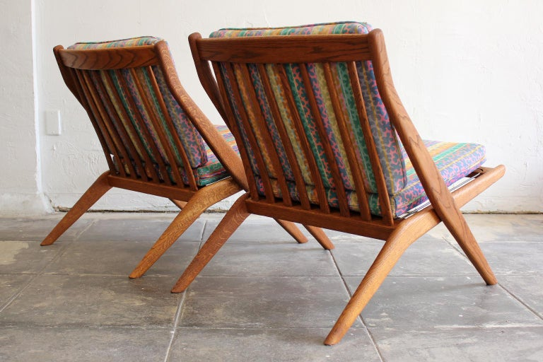 20th Century Pair of DUX Scissor Chairs by Folke Ohlsson Missoni or Jack Lenor Larsen Fabric For Sale