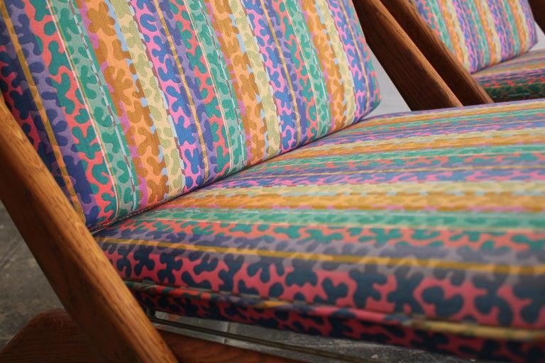 Oak Pair of DUX Scissor Chairs by Folke Ohlsson Missoni or Jack Lenor Larsen Fabric For Sale