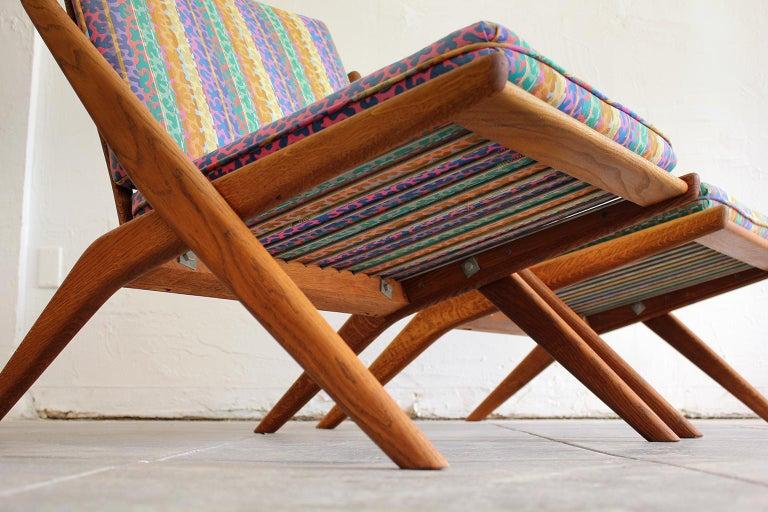 Pair of DUX Scissor Chairs by Folke Ohlsson Missoni or Jack Lenor Larsen Fabric For Sale 1
