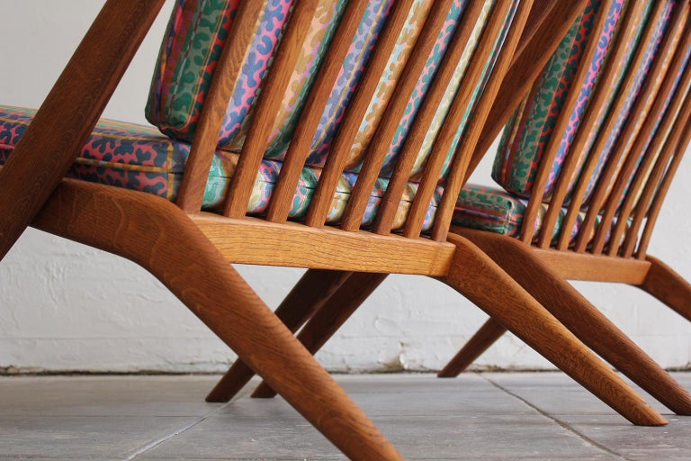Pair of DUX Scissor Chairs by Folke Ohlsson Missoni or Jack Lenor Larsen Fabric For Sale 2