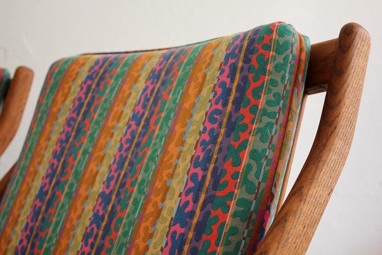 Pair of DUX Scissor Chairs by Folke Ohlsson Missoni or Jack Lenor Larsen Fabric For Sale 3